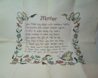 1989 MOTHER saying Counting Cross Stitch with Flowers and Butterflies.