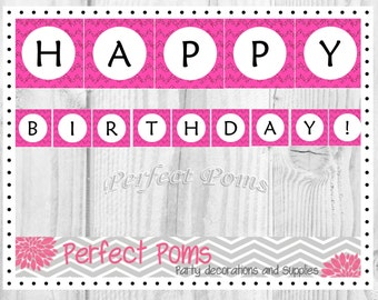 Happy Birthday Banner << Pink Chevron Glitter >> Instant Download Digital Numbers Included - DIY - Do It Yourself Printable  Decoration
