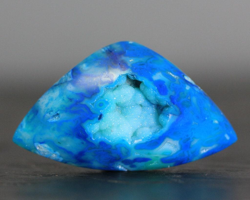 gemstone cabochon teal quartz agate druzy bead