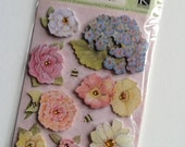 Floral Flower Dimensional Scrapbook Sticker Embellishments from K&Company