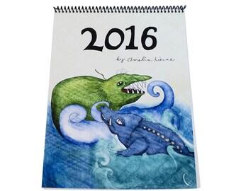 SALE - 2016 Wall Calendar - Sea Monsters - SALE