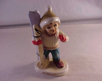 Porcelain Figurine Boy Skier Month of February