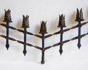 Vintage Gothic candelabra Black Forged Wrought iron adjustable 7 arm candlestick holder Cathedral salvage 30 inch