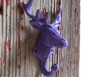 Moose hook Hanger Cast iron hardware Elk deer antlers  Rustic wall decor party favor gift Supplies purple or grey