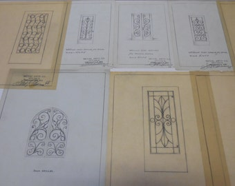 9 Vintage Architectural drawings sample Ornamental wrought iron Gates front doors  Metal Artisans