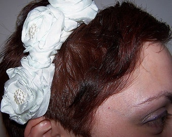 European Vintage Style Wedding Hair Accessory with Three Rolled Ribbon Roses on White Satin Headband OOAK