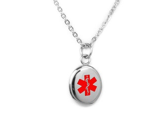 Medical ID Necklace, Stainless Steel, Red Symbol - R2R-N