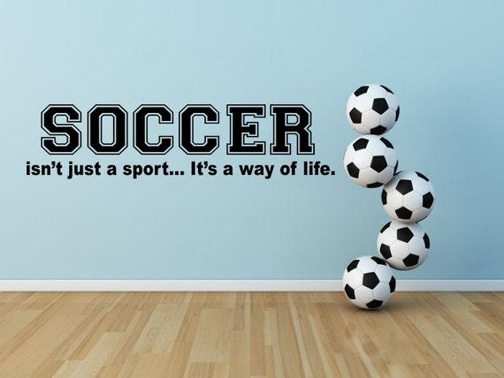 soccer wall decal soccer vinyl wall decal bedroom soccer. Black Bedroom Furniture Sets. Home Design Ideas