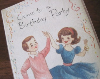 vintage 1960s dance party invitations + envelopes - Come to a Birthday Party - set of 12 - NEVER USED, deadstock, in original packaging