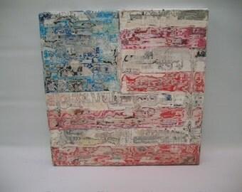 Handmade American Flag Art, Decoupage Flag Art, Outsider Art, Tramp Art, Graffiti Art, Decoupage Canvas American Flag,  Rustic Country Art,