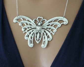 Statement Necklace - Art Nouveau Necklace - Butterfly Necklace - Silver Necklace - handmade jewelry