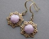 Dusty Lilac Earrings - Petite Glass Earrings - Dainty Earrings - Mauve Earrings - Tiny Earrings - Purple Jewelry - Dusty Lilac Jewelry