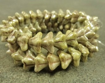 Light Olive Picasso Czech Pressed Glass 6x9mm Bell flower Beads 25pc