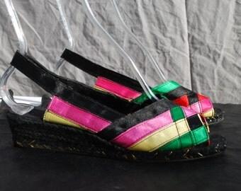 Vintage 80's espadrilles wedge shoes size 39 USA 8 1/2 LA LUZIENNE Paris silk ribbon wedgies  by thekaliman