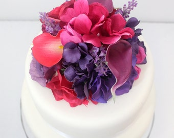 Wedding Cake Topper -  Hot Pink Rose, Calla Lily, Purple, Hydrangea, Rose, Calla Lily Silk Flower Cake Topper, Wedding Cake Flowers