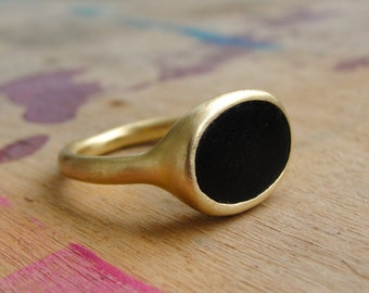 Onyx Signet Ring , Black Onyx Ring , Statement Ring , Onyx Solitaire Ring , Gold Signet Ring , Onyx Statement Ring