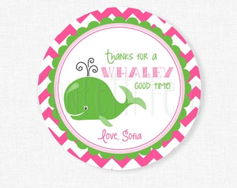 Whale Favor Tags, Nautical Gift Tag, Pink and Green Whale, Whale Party Favors, Printable Gift Tag, Personalized
