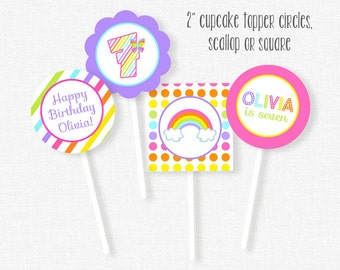 Rainbow Cupcake Toppers, Rainbow Party Decorations, Printable Birthday Cupcake Toppers, Personalized