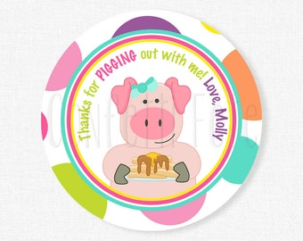 Pig Favor Tags, Pancake Party Tags, Pig Party Tags, Thank You Tags, Pig Birthday Tag, Girl Birthday Favors, Personalized