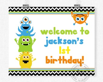 Little Monster Birthday Sign, Monsters Welcome Sign, Monster Birthday Sign, Little Monster Party Decorations, Printable 8x10 Sign