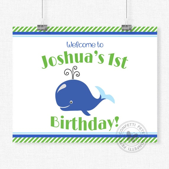 Whale Birthday Party Sign, Blue and Green Whale Welcome Sign, Whale Party Decorations, Printable 8x10 Sign
