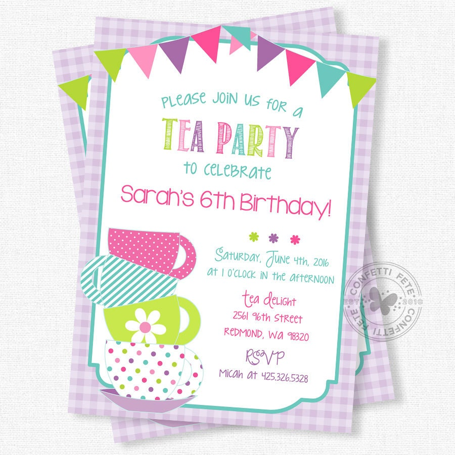 Tea Party Birthday Invitation Tea For Two Invitation Girls