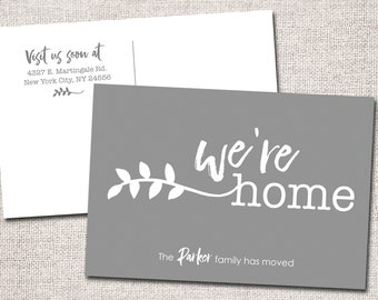 New address card, we've moved, postcard, new address, new home (We're Home)