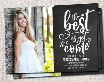 Graduation Announcement, Graduation Invitation, Modern Graduation Invitation, Printable Graduation Invitation (The Best is Yet to Come)