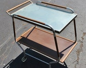BLOWOUT 40% off sale Vintage 50s Aluminum Wood Mid Century Modern Warming Tray - Rolling, on wheels, Salton Hotray, sold as is Not Tested