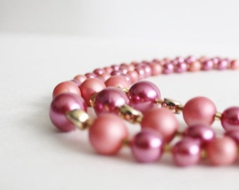 50% half off sale // Vintage 60s Pink Three Strand Necklace - costume jewelry, two tone pink, prom, wedding