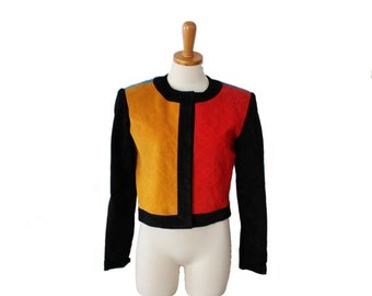 30% off sale // Vintage 80s  Pia Rucci Color Block Cropped Leather Jacket - Women size 6 Small