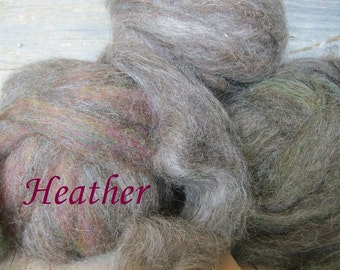 Wool bamboo firestar hand dyed roving top 3 balls 6 ounces for spinning felting crafting Heather grey with hints of rose teal green shades