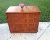 MID CENTURY MODERN CABINEt Record Cabinet / Brutalist Style Cabinet / Patterned Record Cabinet / Mid Century Modern at Retro Daisy Girl