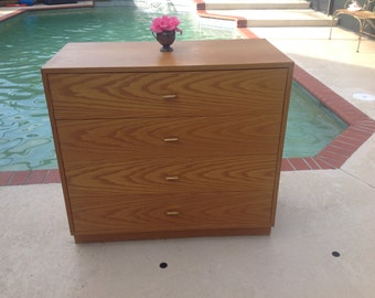 """HARVEY PROBBER CHEST 3 Foot Long / Chest of Drawers with Brass Pulls /36"""" x 33"""" tall Mid Century modern Solid Wood Chest at Retro Daisy Girl"""