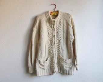 Wool Handknit Cableknit Beige Faux Turtleneck Cardigan Sailor Sweater