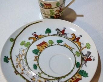 Stylized Fox Hunt Scene~Sigma TasteSetter~Teacup+Snack Plate~Coffee Cup