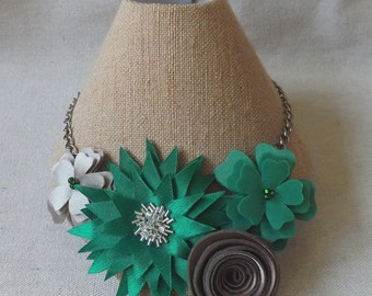 Statement Necklace in Green and Taupe