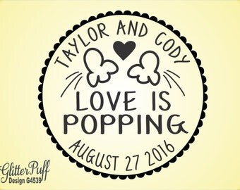 LOVE is POPPING -  Wedding Rubber Stamp for Popcorn treat bags or sacks  -  Popcorn Wedding Stamp (G4539) Custom Round Stamp