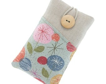 Samsung Galaxy S5 case, Galaxy S5 mini fabric case, Galaxy S6 pouch, Galaxy S6 Edge cover, Galaxy S7 Edge case, flower case, grey,pink,green