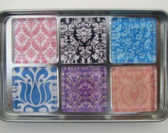 Damask Refrigerator Magnets, Set of Fridge Magnets in Storage Tin