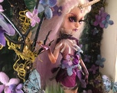 Reserved Listing for Hollie-Lilly the Lilac Unicorn Custom Doll in Magical Forest Shadow Box Wall Art