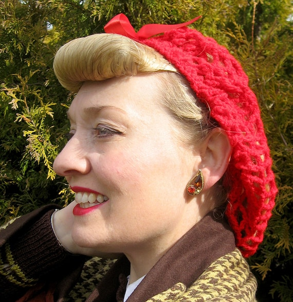 1940s Hair Snoods- Buy, Knit, Crochet or Sew a Snood Hand Crocheted 1940s Pin-Up Vintage Style Snood Black with Satin Bow Available in Black White Red Green or Purple! $26.61 AT vintagedancer.com