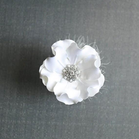 Flower Hair Clip- Wedding Headpiece- Bridal Accessory- Bridal Satin Flower Hair Clip