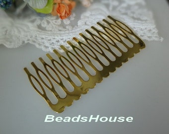20%off HC-14Ant  4pcs High Quality Gold Plated  14 Teeth Barrette Hair Combs- Nickel Free