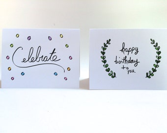 Birthday Card Set, Pack of Birthday Cards, Birthday Doodle, Set of 4, made on recycled paper, come with envelope and seal