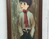 FRENCH BIG EYE Boy Vintage Oil Painting Original, Dated Paris '63, Paris Apartment, Mid Century Modern, Retro at Modern Logic