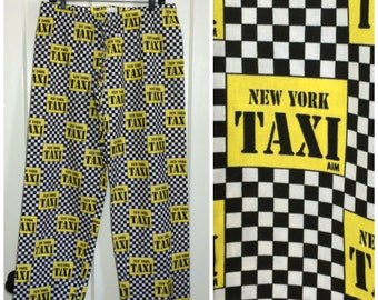 1990's Deadstock cotton patterned Pajamas Pants New York City Yellow Taxi Cab checkerboard Surfer rave festival