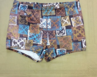 1950's Surfer Swimsuit Boxer Short Shorts cotton Swim Trunks looks size Large drawstring beach beatnik  Brown Blue patterned