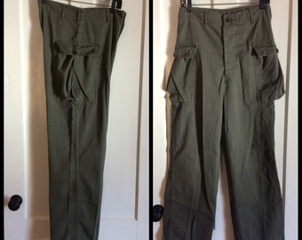 1940's WWII Military HBT 2 side Pocket Button Fly Trousers 30X32 measured Green Herringbone Twill