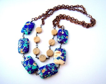 Chunky Statement Necklace, Double Strand Beaded Necklace, Urban Necklace, Bohemian Jewelry, Unique Handmade Gifts for Women
